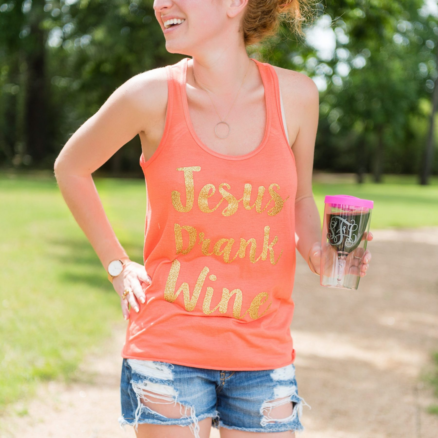 Jesus Drank Wine Tank – Happy Saturday