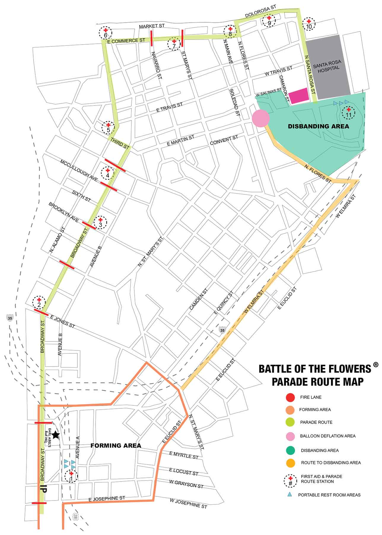 Battle of the flowers parade route 2019